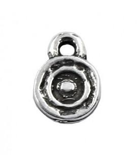 Colgante moneda 8mm paso 1,5mm, zamak baño plata