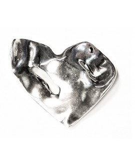 Entre-pieza, colgante corazón 50x55mm paso 3mm, zamak baño de plata