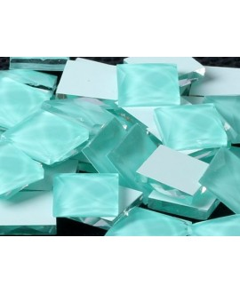 Cabujón cristal cuadrado fondo plano 10x10mm turquesa claro