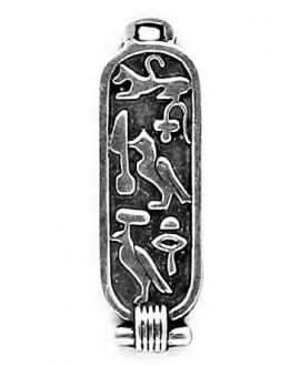Colgante egipcio 39x12mm paso 3x2mm, Zamak baño de plata