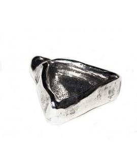 Colgante triangulo 40x38x10mm paso 2mm para cristal de 23mm, zamak baño de plata