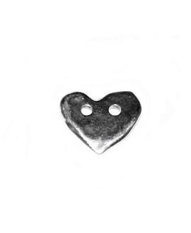 Entre-pieza, colgante corazón 18x20mm paso 2mm, zamak baño de plata