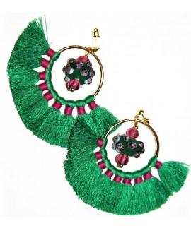 Pendientes borlas, verde