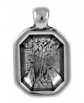 Colgante octagonal  30x20mm paso 4mm para cristal 18x13x6mm, zamak baño de plata