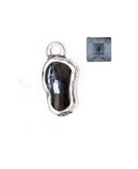 Entre-pieza 25x11mm paso 3mm con SWAROVSKI, color Blue Shade, zamak baño de plata