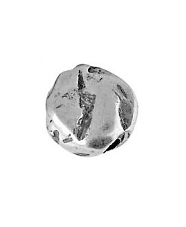Cuenta dos agujeros 14x14mm paso 3mm,  zamak baño de plata