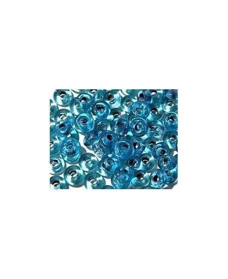 Rondel cristal indio azul claro 7x4mm paso 2mm, precio por 50 unidades