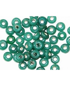 Rondel cristal indio verde 5/6x2,5/3mm paso 3mm, precio por 25 unidades