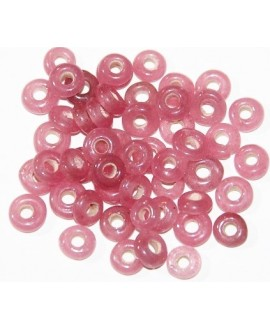 Rondel cristal indio rosa 7x4mm paso 2mm, precio por 50 unidades