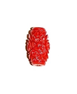 Cuenta resina coral 15x8mm, paso 1,5mm