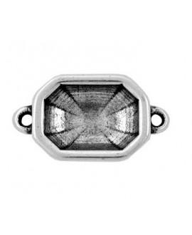 Entre-pieza octagonal  24x18mm paso 2mm para cristal 18x13x6mm, zamak baño de plata