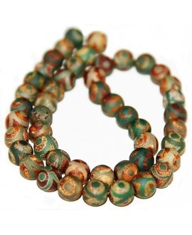 Ágata tibetana DZI darkolivegreen 8mm, paso 1mm,  48pcs/strand