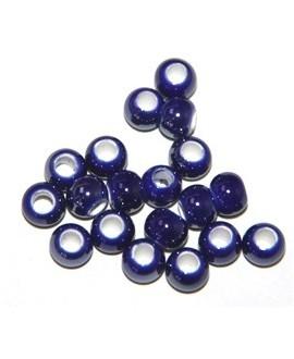 Cuentita de porcelana azulón 4x5mm, paso 2,5mm, precio por 12 unidades