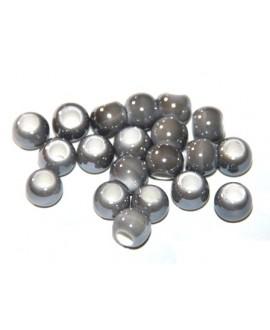 Cuentita de porcelana gris 4x5mm, paso 2,5mm, precio por 12 unidades