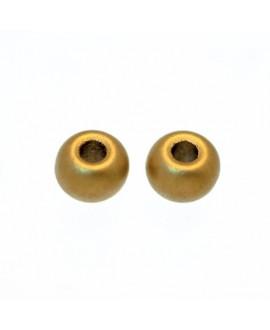 Donut de  vidrio de color dorado metalizado mate de 5,5mm, paso 0,5mm, precio por 20 unidades