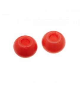 Donut de vidrio rojo coral mate de 7x4mm, paso 2,4mm, precio por 20 unidades