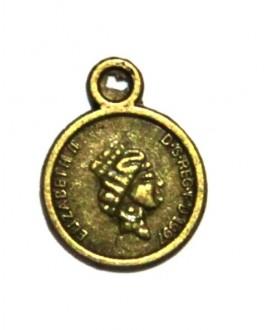 Colgante mini moneda bronce antiguo 11mm paso 1mm precio 20 unidades