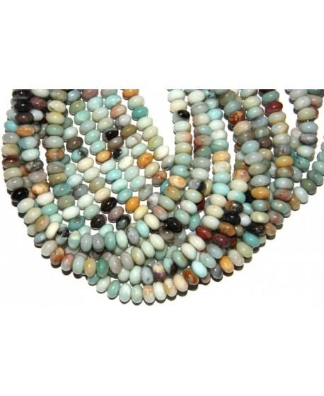 Amazonita multicolor rondel 10x6mm agujero 1mm 60 piezas por tira