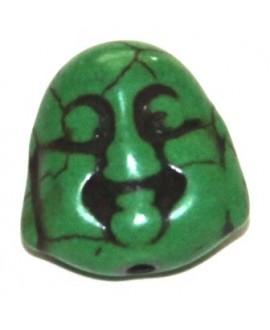 Howlita buda verde 14x14mm, paso 1mm