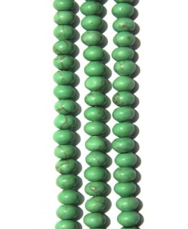 Turquesa verde rondel  8x5mm agujero 0,8mm 74 piezas por tira