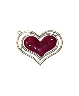 Colgante corazón doble 85x70mm, resina vino y zamak baño de plata