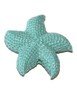 Entre-pieza resina estrella de mar azul 20mm, paso 1mm