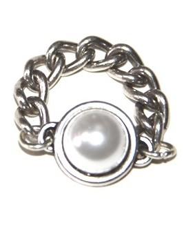 Anillo perla-zamak baño de plata