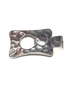 Cierre dos partes parte frontal 40x25mm botón 25x12mm, paso 8mm, zamak baño de plata