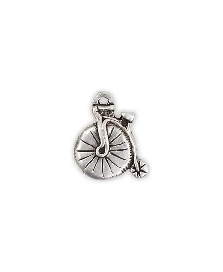 Colgante bicicleta 26x30mm, zamak baño de plata