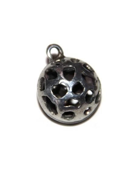 Colgante bola calada 25mm con anilla, zamak baño de plata