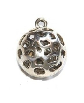 Colgante bola calada 36x30mm con anilla, zamak baño de plata