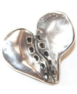 Corazón 30x32mm con 10 agujeros de 2mm, zamak baño de plata