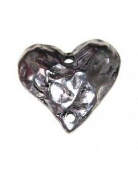 Corazón 35x35mm paso doble de 3mm, zamak baño de plata