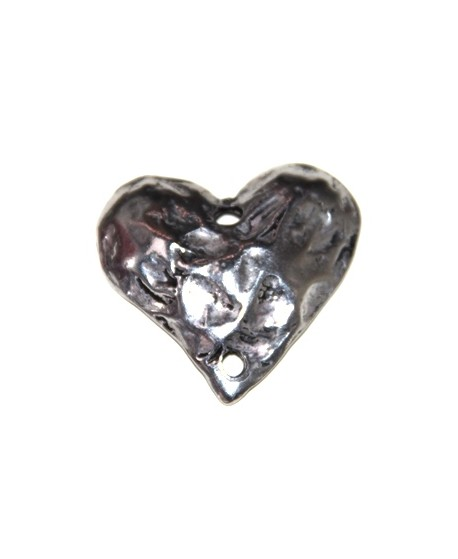 Colgante corazón 35x35mm paso doble de 3mm, zamak baño de plata