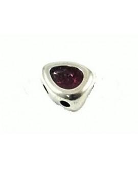 Entre-pieza esmalte rosa 13x11mm paso 2mm, zamak baño de plata
