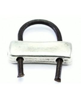 Entre-pieza barra 20x7mm paso doble de 2mm, zamak baño de plata