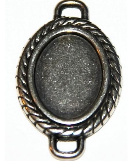 Entre-pieza oval 35x22mm, dos anillas, zamak baño de plata