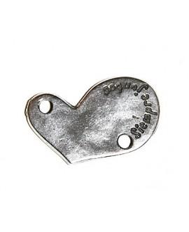 """Entre-pieza corazón 25x15mm paso 2,5mm, """"Siempre Juntos"""" zamak baño de plata"""