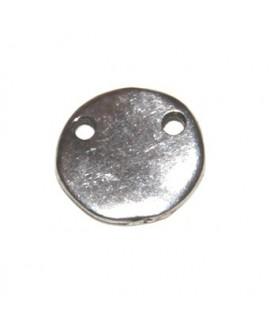 Entre-pieza moneda 15 mm doble agujero de 1mm, zamak baño de plata