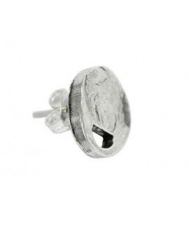Pendientes redondo martilleado 13mm paso 5x3mm, zamak baño de plata, precio por par