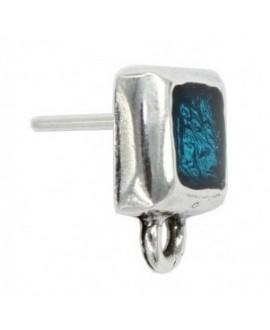 Pendientes cuadrado con esmalte azul 15x12mm, zamak baño de plata, precio por par