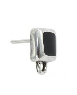 Pendientes cuadrado con esmalte negro 15x12mm, zamak baño de plata, precio por par