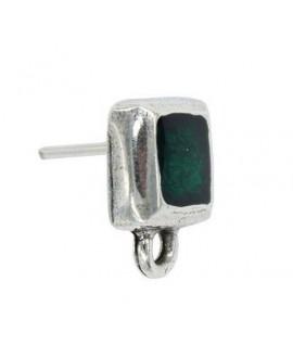 Pendientes cuadrado con esmalte verde 15x12mm, zamak baño de plata, precio por par