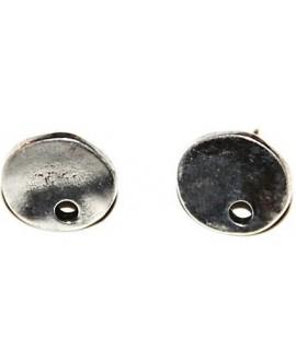 Pendientes redondo 14mm zamak baño de plata, precio por par