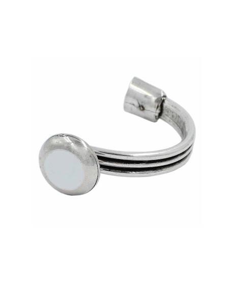 Media pulsera blanca 67mmx36mm paso 10x8mm, zamak baño de plata