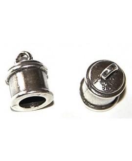 Terminal tubo 10x11mm paso 6mm, zamak baño de plata