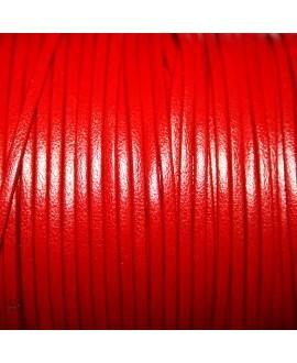 Tira cuero doblado alta calidad 2mm rojo, precio por metro