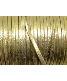 Tira cuero doblado alta calidad 3mm dorada, precio por metro