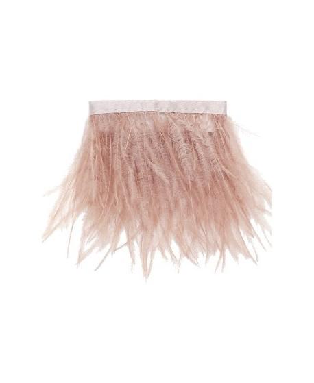 Fleco de pluma de avestruz de color rosa palo de 25x10cm
