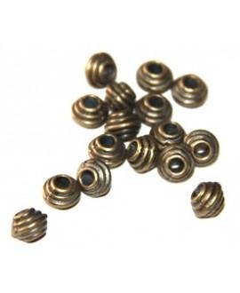 Cuenta rallada bronce, 5mm, paso 3mm, precio por 10 unidades